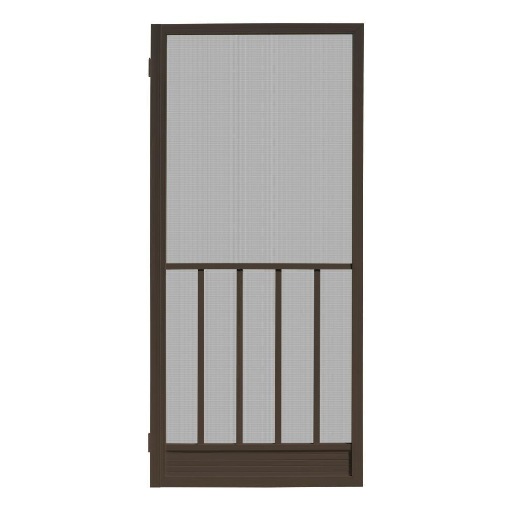 Unique Home Designs 32 In. X 80 In. Coronado Bronze Outswing Metal Hinged  Screen