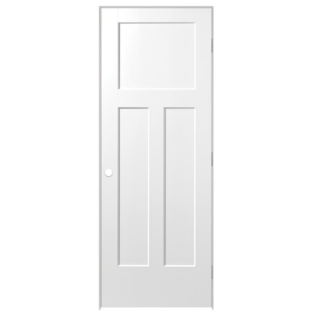 28 in. x 80 in. Winslow 3-Panel Left-Handed Hollow-Core Primed Composite Single Prehung Interior Door