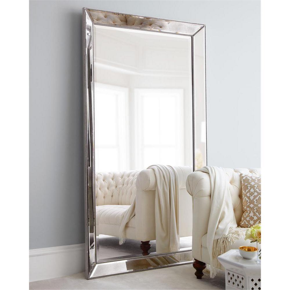 "Full Length Mirror Standing Large Rectangle Bedroom Floor Dressing Mirror, Aluminum Alloy Thin Framed, 79"" x 44"""