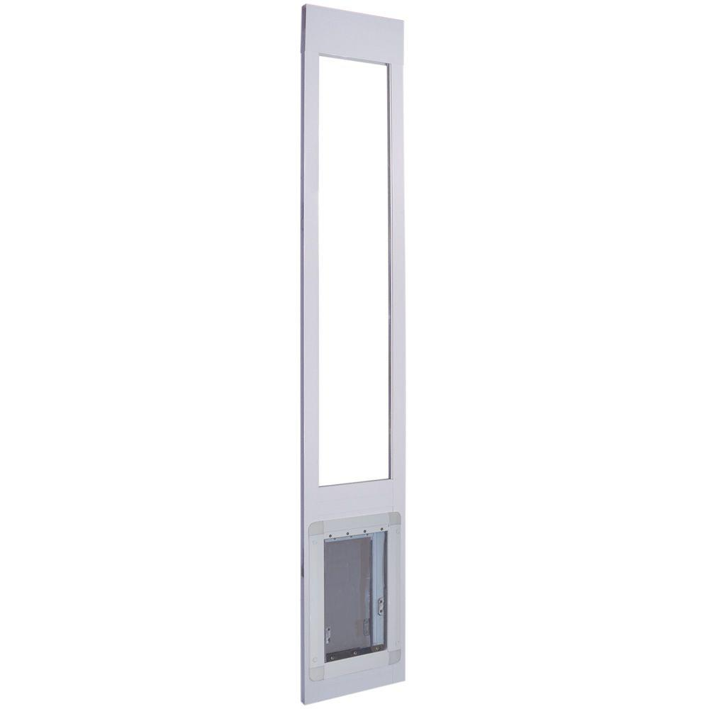 Ideal Pet 7.25 in. x 13 in. Aluminum Frame Pet Patio Door with Dual Flaps Fits 75.4 in. to 80.4 in. Tall Alum Slider-DISCONTINUED