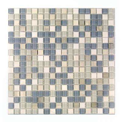 Crystal Stone Blue Mix 11.75 in. x 11.75 in. x 4 mm Glass and Stone Mosaic Tile