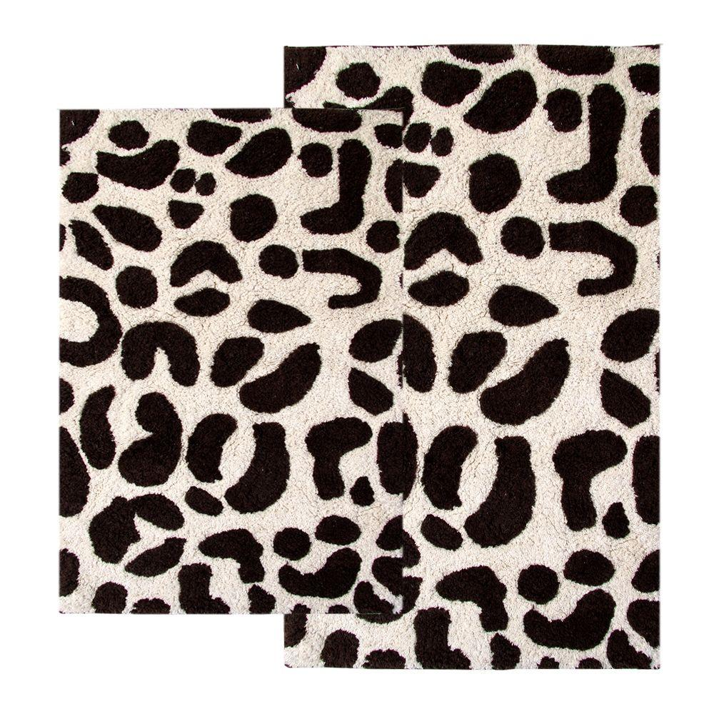 Chesapeake Merchandising 21 in. x 34 in. and 24 in. x 40 in. 2-Piece Leopard Bath Rug Set in Chocolate and Ivory