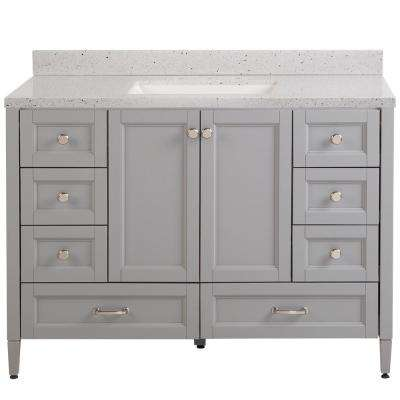 Claxby 49 in. W x 22 in. D Bath Vanity in Sterling Gray with Solid Surface Vanity Top in Silver Ash with White Sink