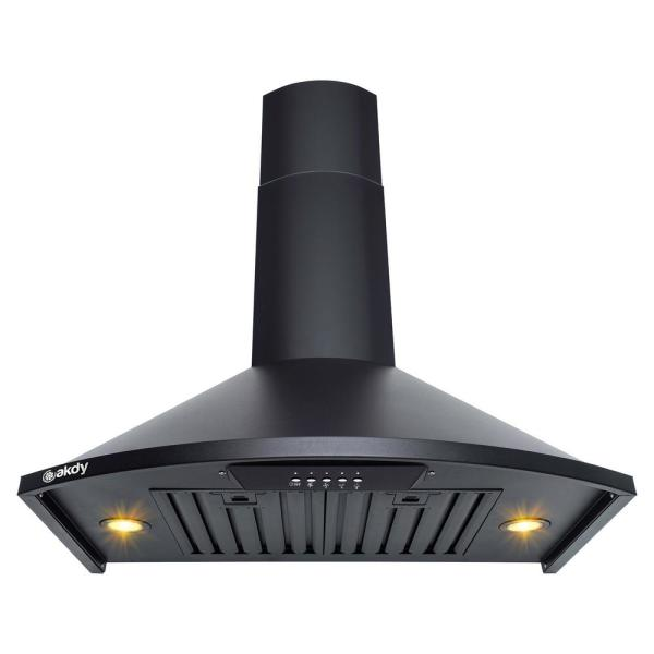 30 in. Convertible Kitchen Wall Mount Range Hood with Lights in Black Painted Stainless Steel