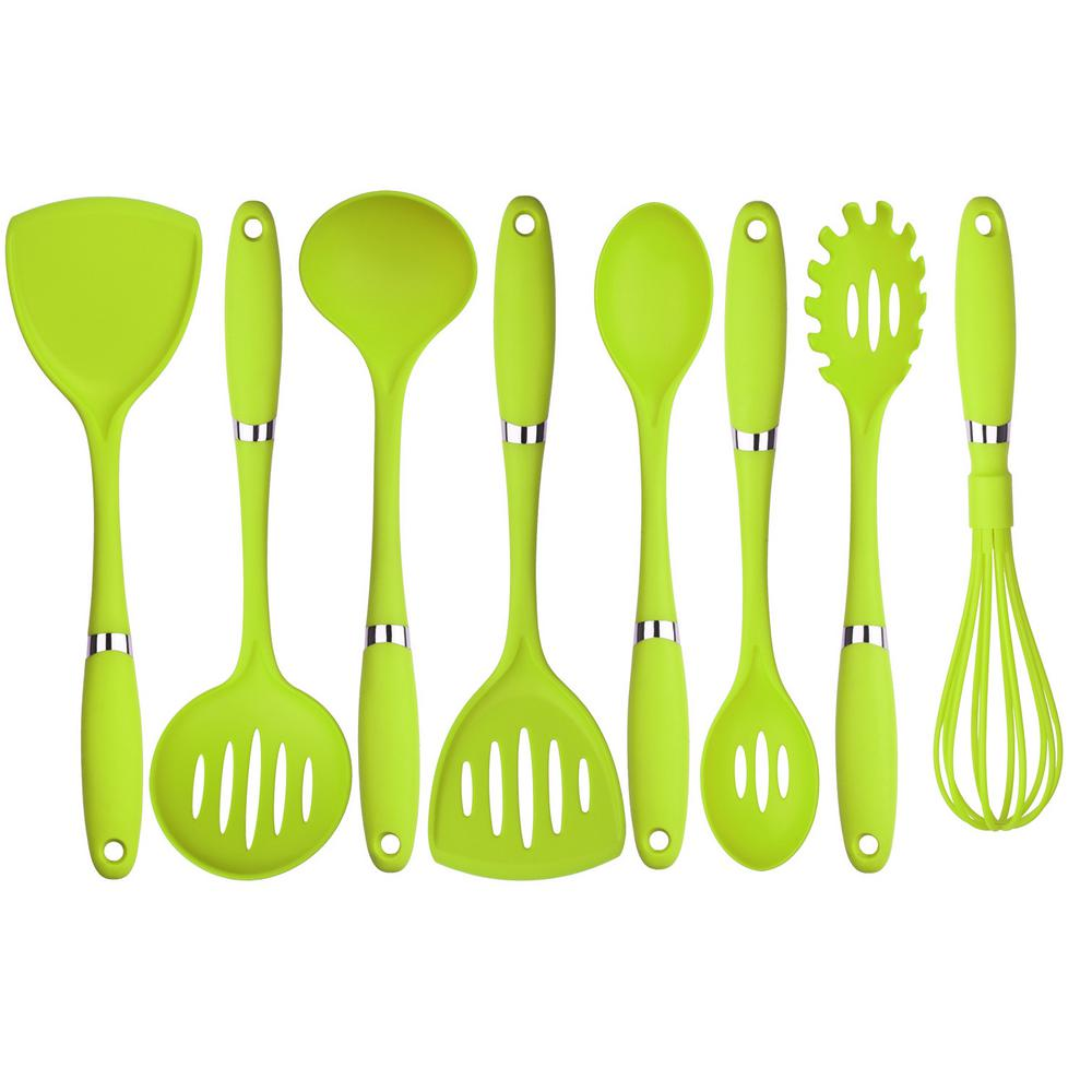8-Piece Nylon Utensil Set in Green
