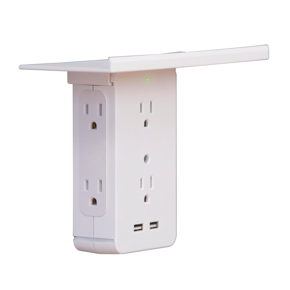 Socket Shelf Cordless Wall Outlet Extender with 6-Outlets and 2 USB ports