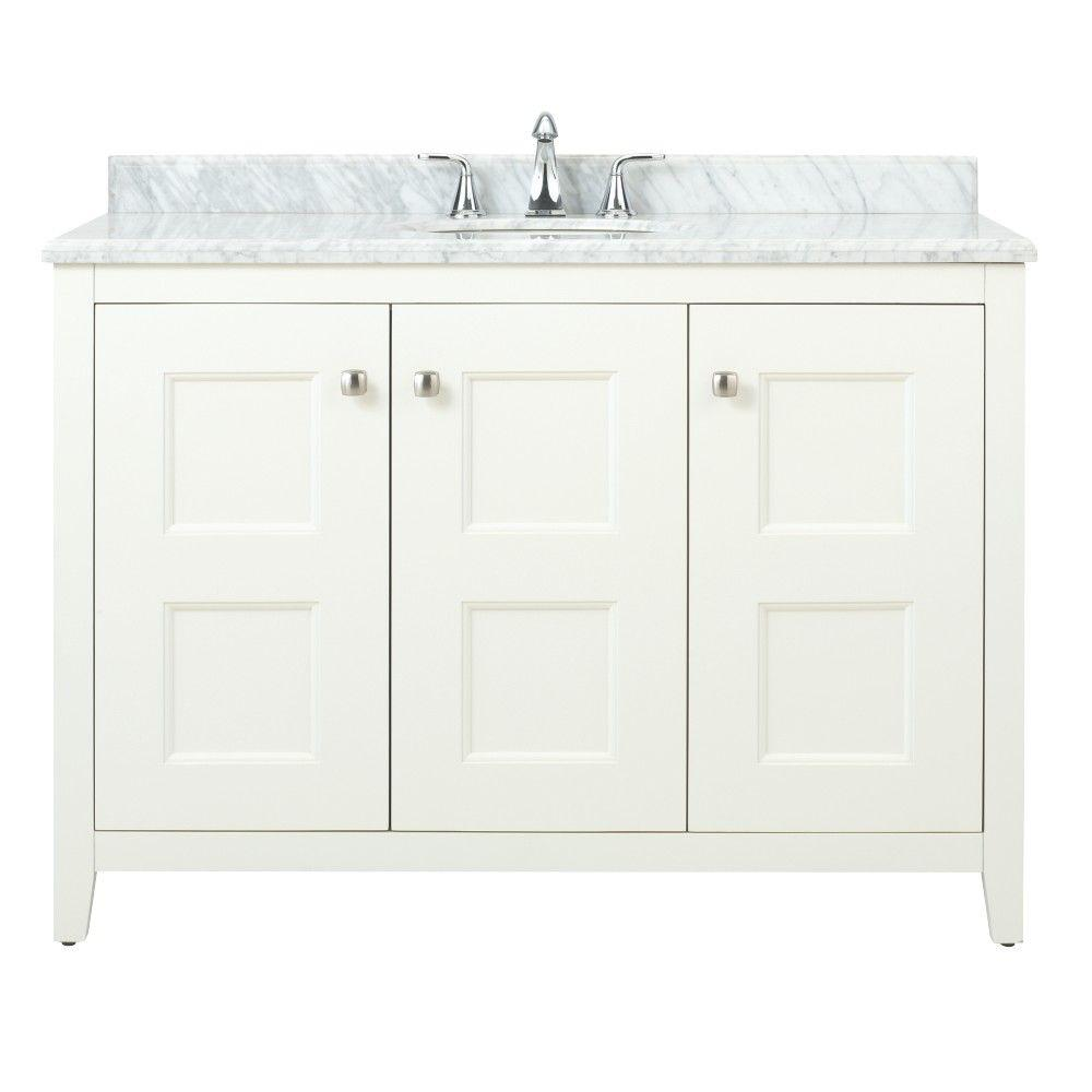 Home Decorators Collection Union Square 48 in. W x 22 in. D Bath Vanity in White with Natural Marble Vanity Top in Grey and White