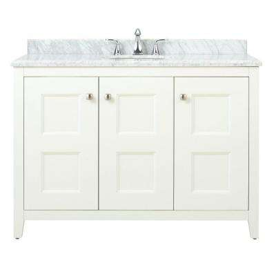 Union Square 48 in. W x 22 in. D Bath Vanity in White with Natural Marble Vanity Top in Grey and White