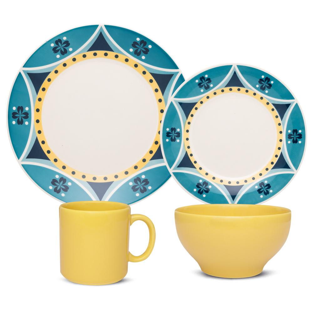 Manhattan Comfort Actual Yellow and Blue 16-Piece Casual Yellow and Blue Earthenware Dinnerware Set (Service for 4) was $129.99 now $78.18 (40.0% off)