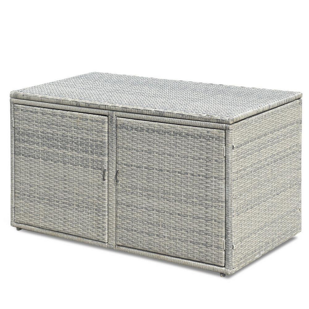 CASAINC 88 GalRattan Garden Patio Storage Container Deck Box