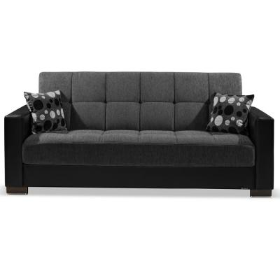 Armada 88 in. Dark Gray/Black Chenille 3-Seater Full Sleeper Convertible Sofa Bed with Storage