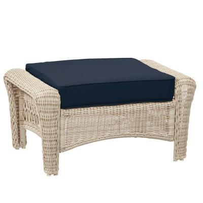 Park Meadows Off-White Wicker Outdoor Patio Ottoman with CushionGuard Midnight Navy Blue Cushion