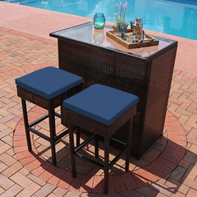 Melindi 3-Piece Wicker Rattan Patio Serving Bar Set with Blue Cushions