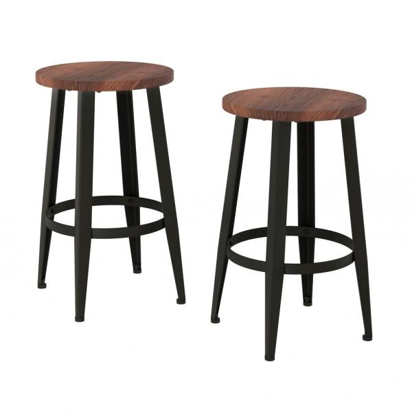 Lavish Home 24 In Vintage Backless Metal Counter Stools With Wooden Seat Set Of 2 Hw0200250 The Home Depot