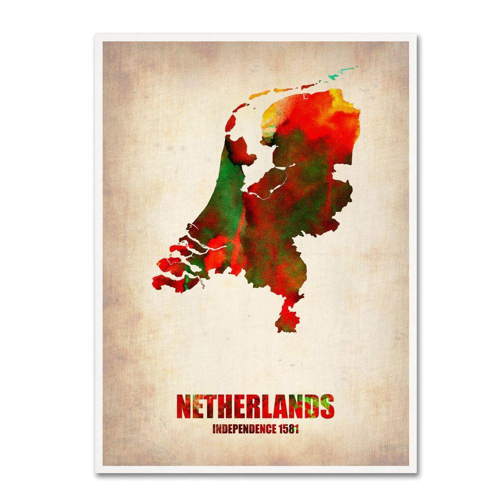 Trademark Fine Art 24 in. x 18 in. Netherlands Watercolor Map Canvas Art