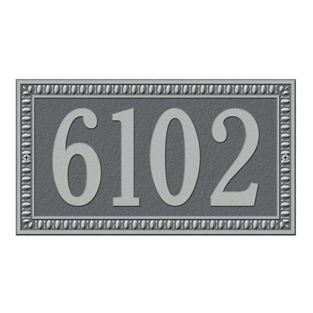 Egg and Dart Rectangular Pewter/Silver Standard Wall One Line Address Plaque