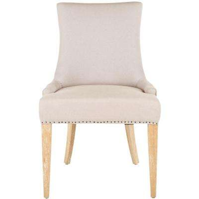 Becca Taupe and Beige Linen Blend Dining Chair
