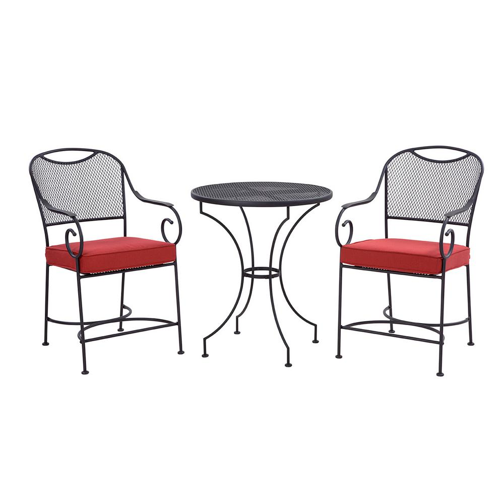 Liberty Garden Birkdale 3-Piece Metal Outdoor Balcony Height Bistro Set  with Red Cushions