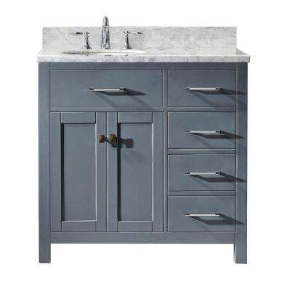Caroline Parkway 36 in. W Bath Vanity in Gray with Marble Vanity Top in White with Round Basin