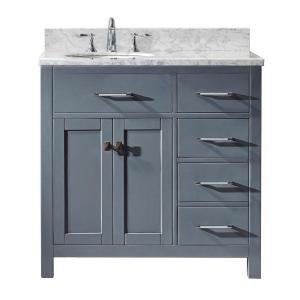 Virtu USA Caroline Parkway 36 inch W x 22 inch D Single Vanity in Gray with Marble Vanity Top in White with White Basin by Virtu USA