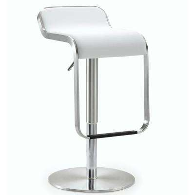 31.1 in. Napoli White Steel Adjustable Barstool