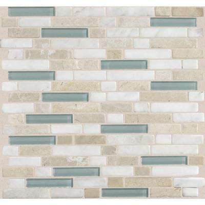 Stone Radiance Whisper Green 11-3/4 in. x 12-1/2 in. x 8 mm Glass and Stone Mosaic Blend Wall Tile