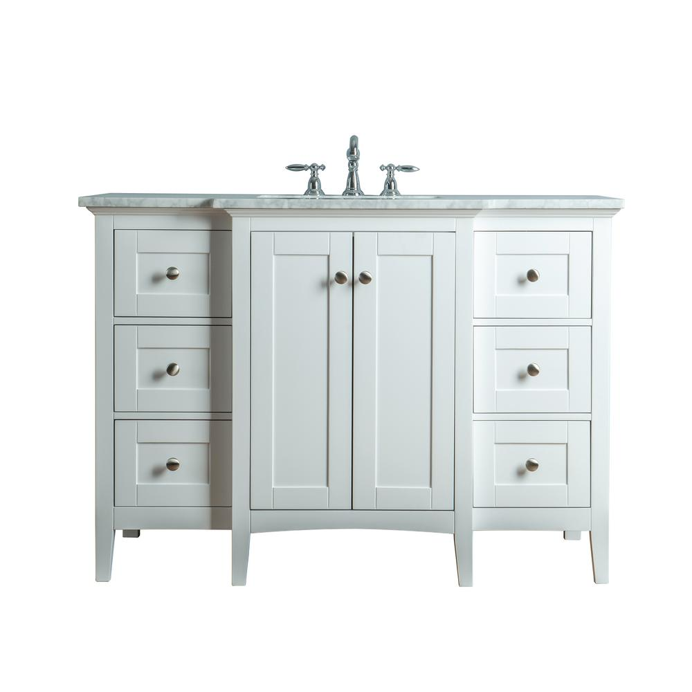 stufurhome Tower 48 in. W x 23.5 in. D Bath Vanity in White with Marble Vanity Top in Carrara White with White Basin