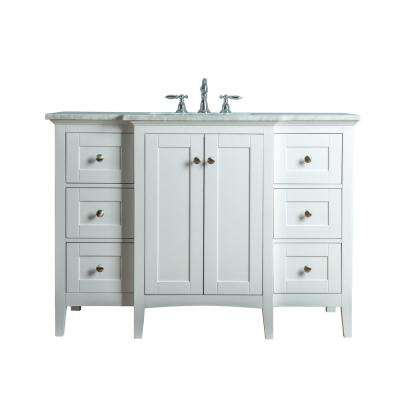 Tower 48 in. W x 23.5 in. D Bath Vanity in White with Marble Vanity Top in Carrara White with White Basin