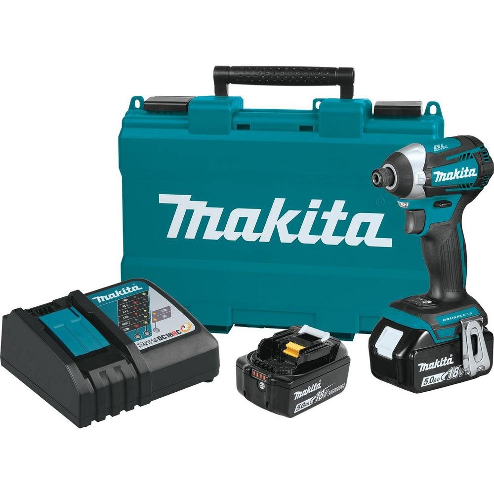 Makita 18-Volt LXT Lithium-Ion Brushless Cordless Quick-Shift Mode 3-Speed Impact Driver with (2) Batteries 5.0Ah, Hard Case