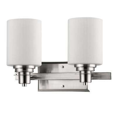 Amelia 2-Light Satin Nickel Vanity Light with Ribbed Glass Shades