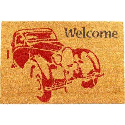 Vintage Car 30 in. x 18 in. Coir Door Mat