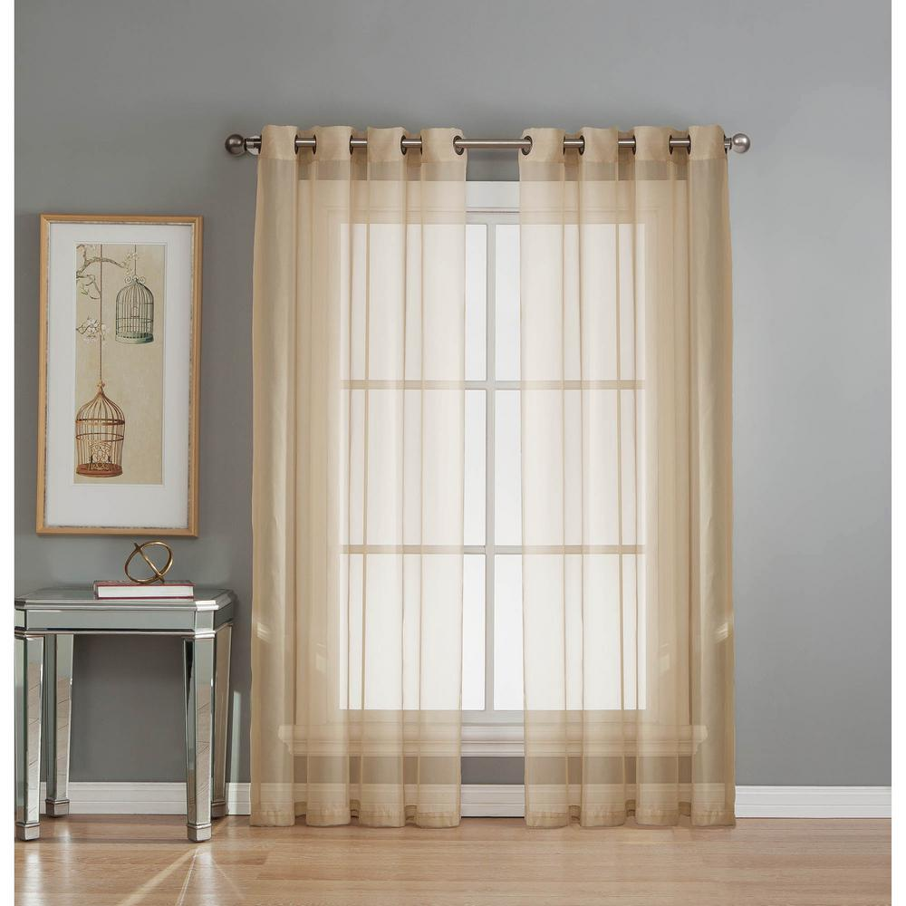 Window Elements Sheer Diamond Voile Taupe Grommet Extra Wide Curtain Panel 56 In