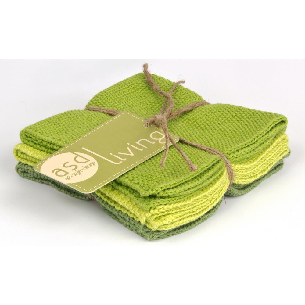 Set of 3 Cotton 10x10 Dishcloths, Leaf Green