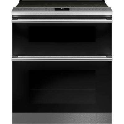 30 in. 6.6 cu. ft. Smart Slide-In Double Oven Electric Range with Self-Cleaning Convection Oven in Platinum Glass