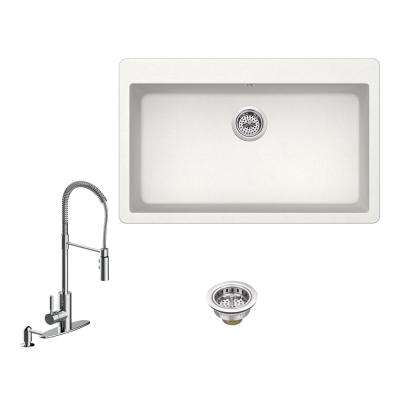 All-in-One Drop-In Granite Composite 33 in. 3-Hole Single Bowl Kitchen Sink in White with Faucet in Polished Chrome