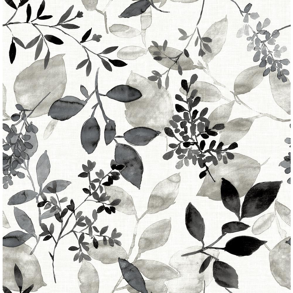 Gossamer Black Botanical Wallpaper Sample