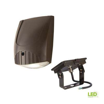 Bronze Outdoor Integrated LED Wall Pack Light with Trunnion Mount Kit