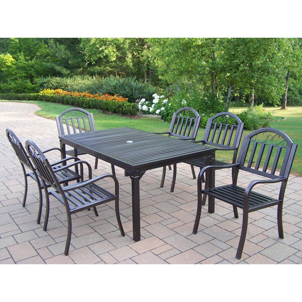 Outdoor Patio Furniture Rochester Ny: Rochester Hammertone Brown 7-Piece Metal Outdoor Dining