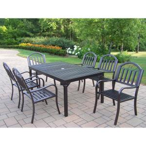 Click here to buy  Rochester Hammertone Brown 7-Piece Metal Outdoor Dining Set.