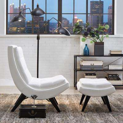 White Faux Leather Chair with Ottoman
