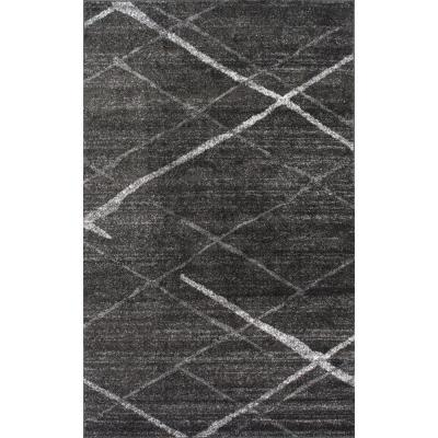 Thigpen Contemporary Stripes Dark Gray 7 ft. 6 in. x 9 ft. 6in. Area Rug