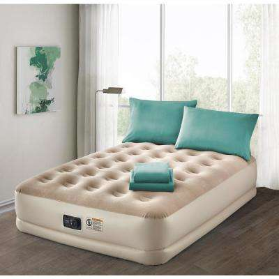 Deluxe 16 in. Twin Air Mattress with Complete Aqua Bedding Set
