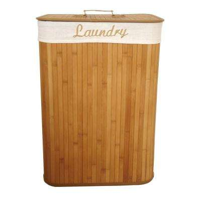 Collapsible Rectangular Bamboo Laundry Hamper