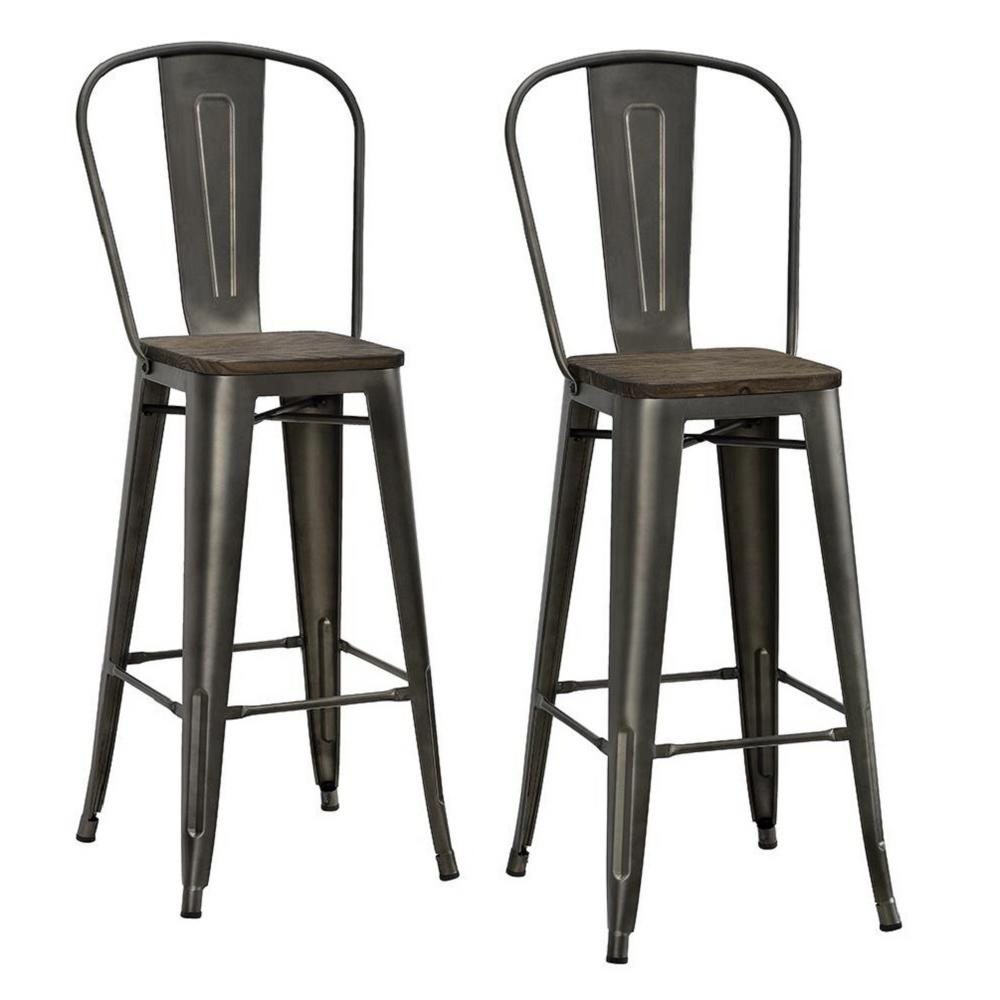 Dhp Lena 30 In Antique Copper Metal Bar Stool With Wood