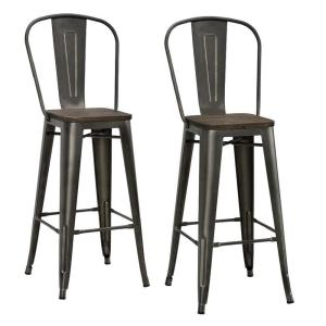 DHP Lena 30 inch Antique Copper Metal Bar Stool with Wood Seat (Set of 2) by DHP