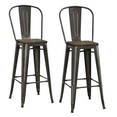 Lena 30 in. Antique Copper Metal Bar Stool with Wood Seat (Set of 2)