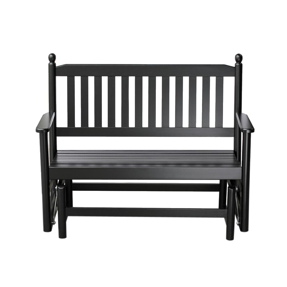 Awesome Hinkle Chair Company 2 Person Black Wood Outdoor Patio Glider Andrewgaddart Wooden Chair Designs For Living Room Andrewgaddartcom