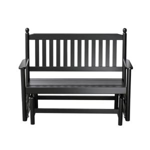 Hinkle Chair Company 2-Person Black Wood Outdoor Patio Glider by Hinkle Chair Company