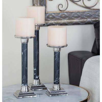 Black Aluminum and Iron Candle Holders (Set of 3)