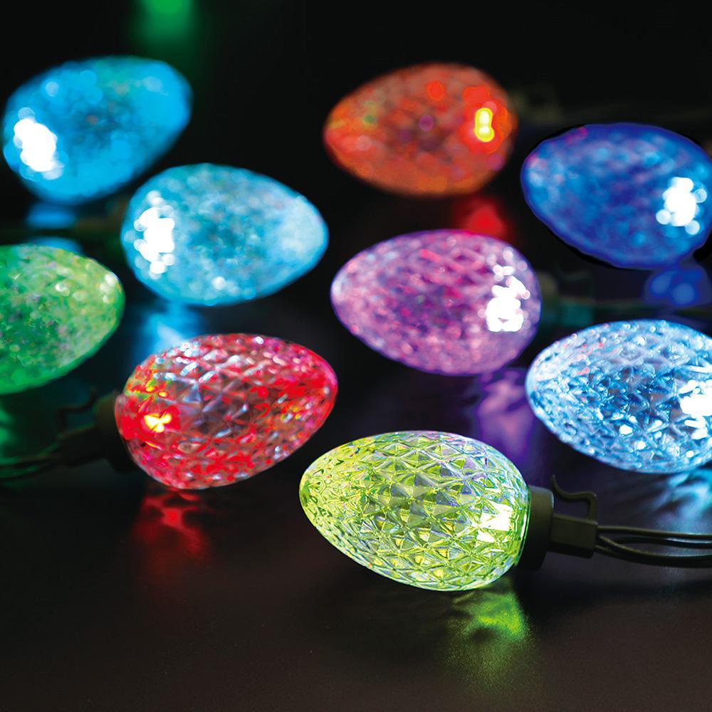 31.5 ft. 24-Light RGB LED Color Blast Remote Controlled C12 Faceted String Lights